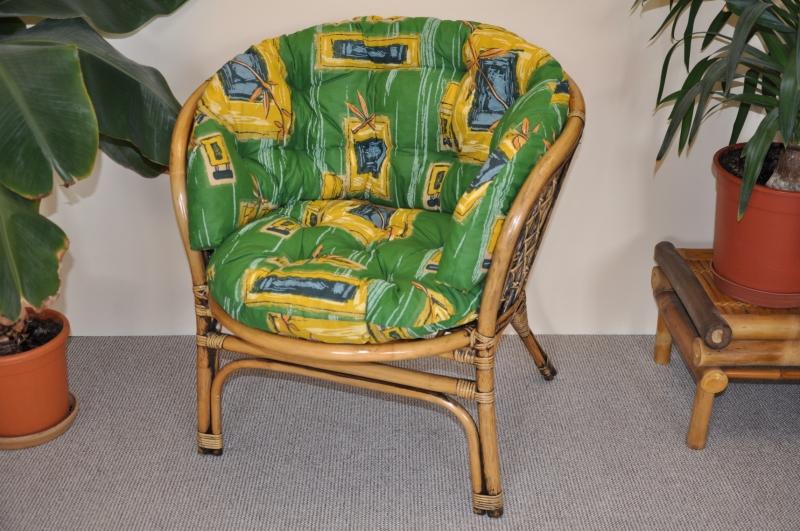 Ratanové křeslo Cayman brown wash polstr MAXI zelený