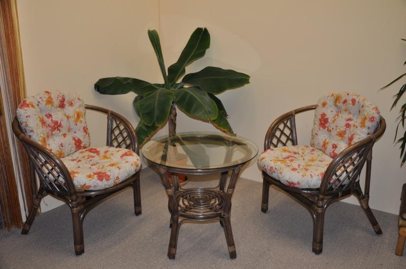 Ratanová sedací souprava Cayman hnědá 2+1, polstr motiv květiny
