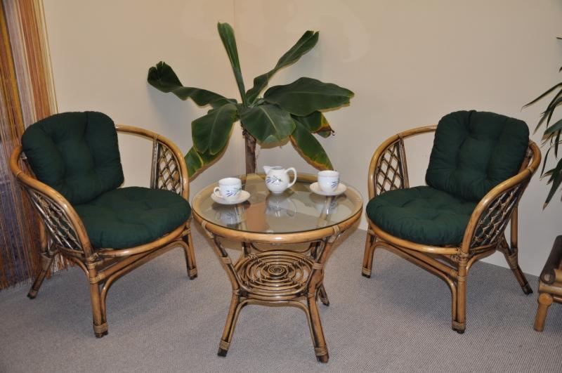 Ratanová sedací souprava Cayman 2+1 brown wash polstr zelený dralon