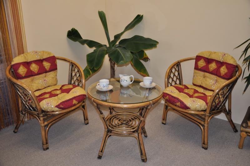 Ratanová sedací souprava Cayman 2+1 brown wash polstr vínový motiv