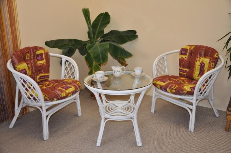 Ratanová sedací souprava Bahama bílá 2+1, polstry hnědý list