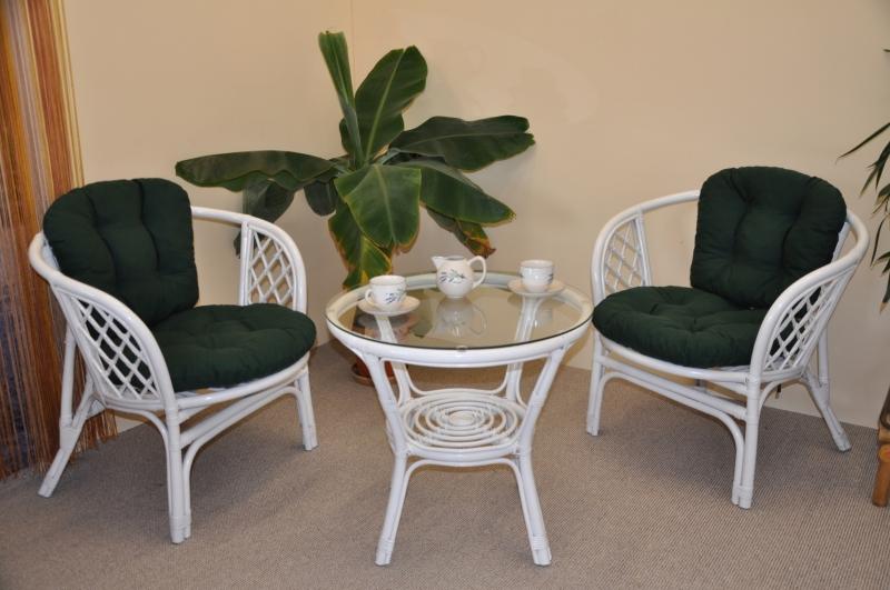 Ratanová sedací souprava Cayman bílá 2+1, polstry zelený dralon