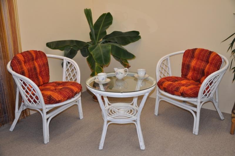 Ratanová sedací souprava Cayman bílá 2+1, polstry oranžová kostka