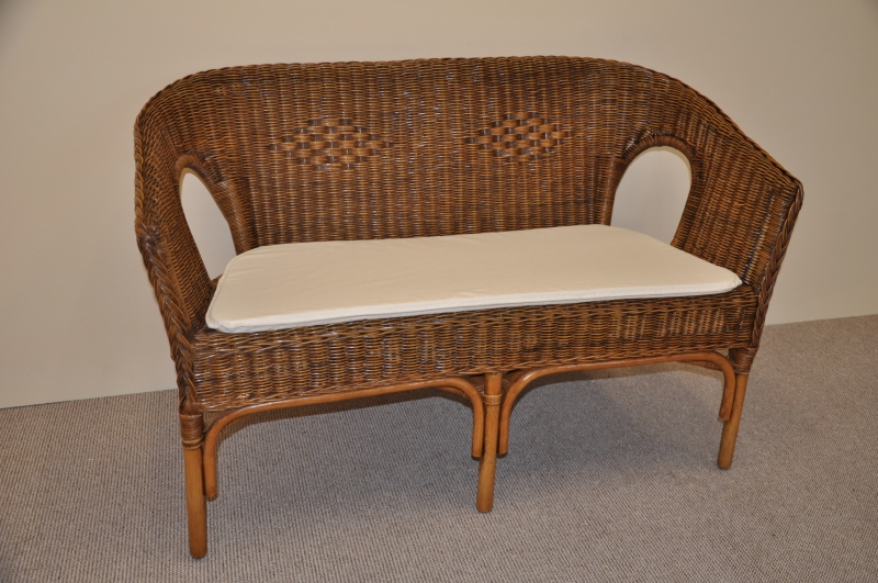 Ratanová lavice Utan brown wash s polstrem bílým