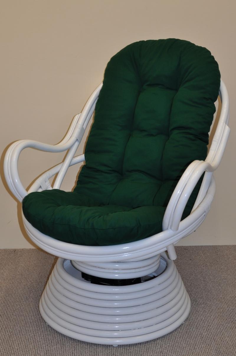 Ratanové houpací křeslo Rock and roll bílé polstr zelený dralon