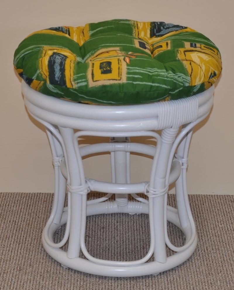 Ratanová taburetka bílá polstr zelený