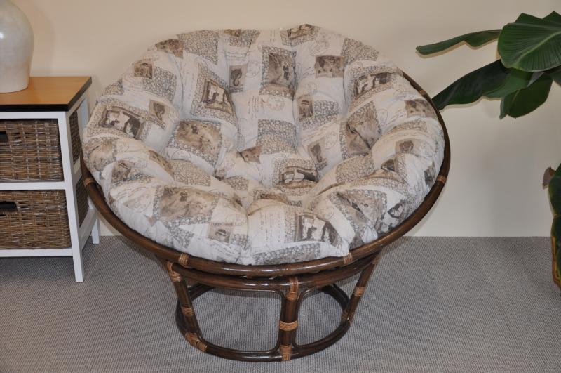 Ratanový papasan 110 cm hnědý polstr motiv známky