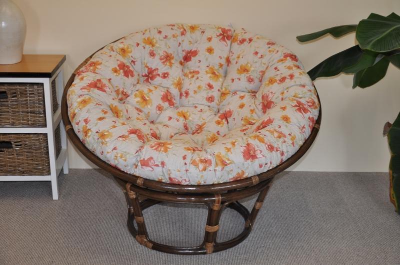 Ratanový papasan 110 cm hnědý polstr motiv květiny