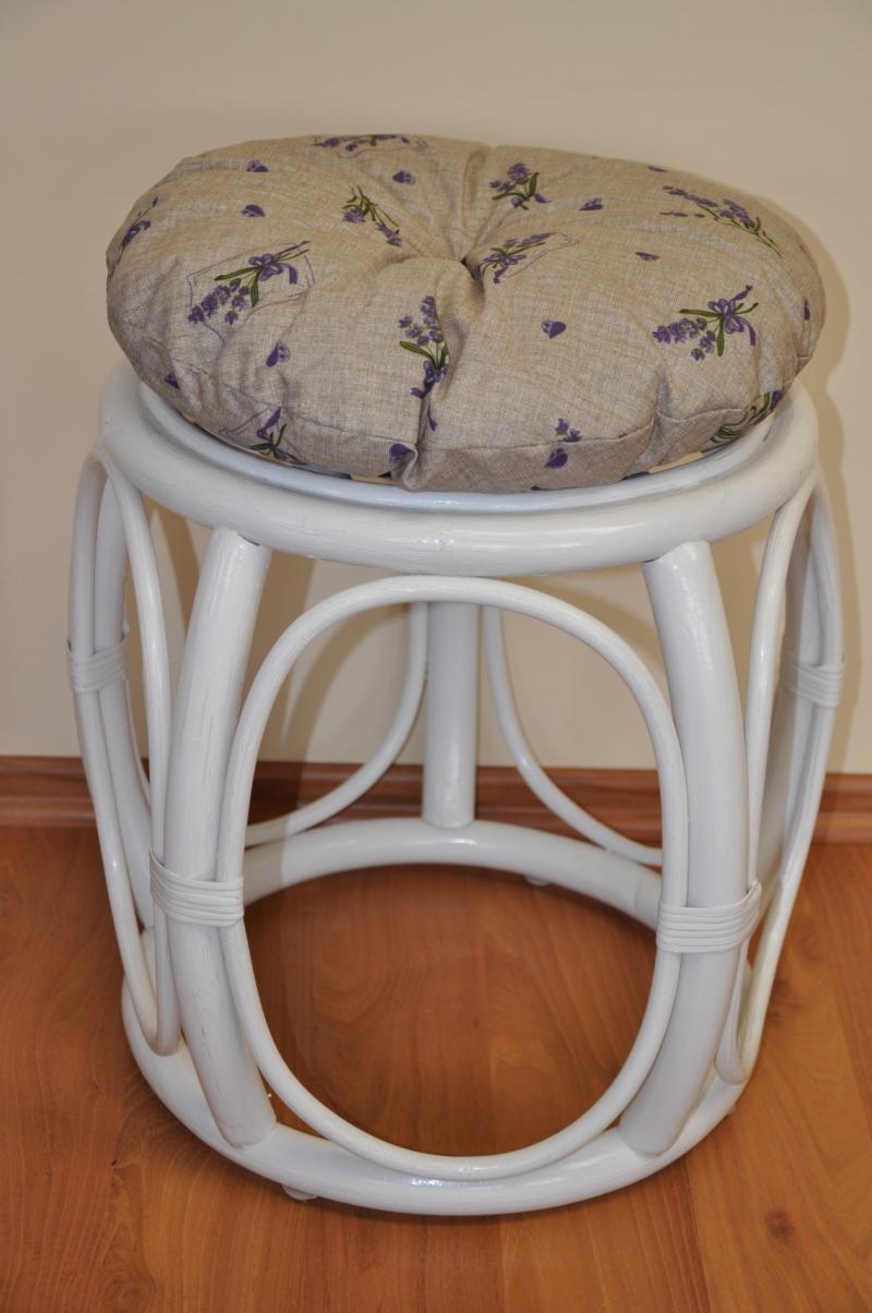Polstr na ratanovou taburetku levandule - průměr 35 cm