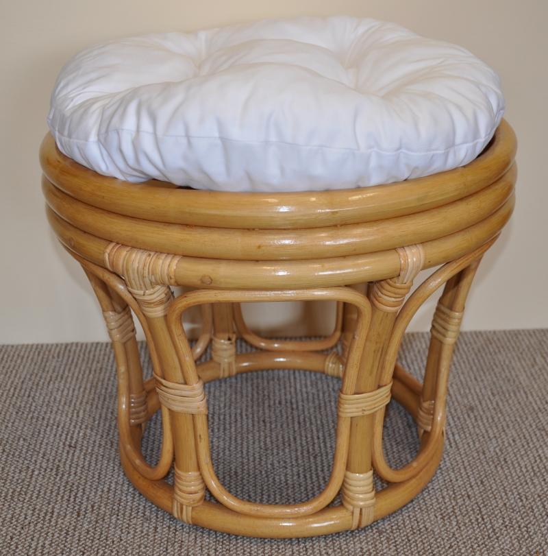 Polstr na ratanovou taburetku bílý - průměr 40 cm