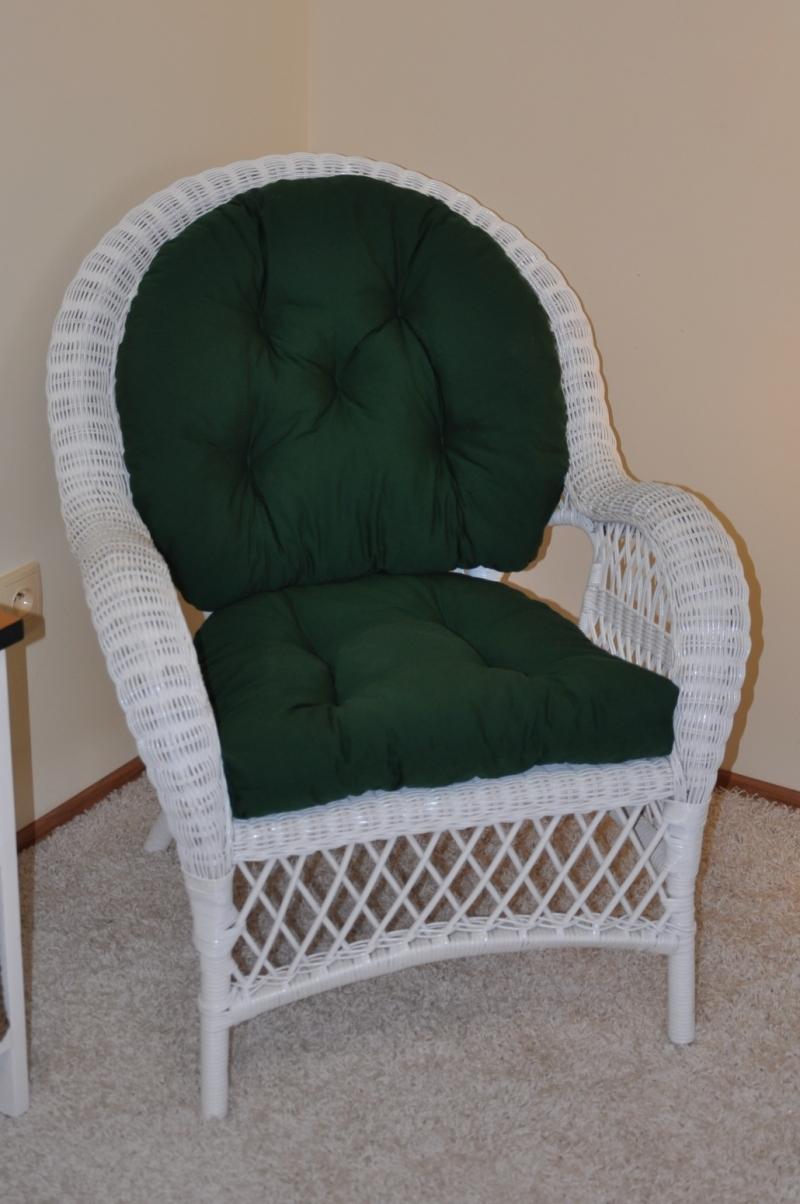 Ratanové křeslo Florida bílé polstr zelený dralon