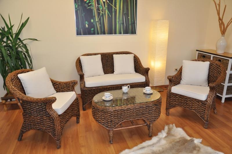Ratanová sedací souprava Dani wodní hyacint brown wash