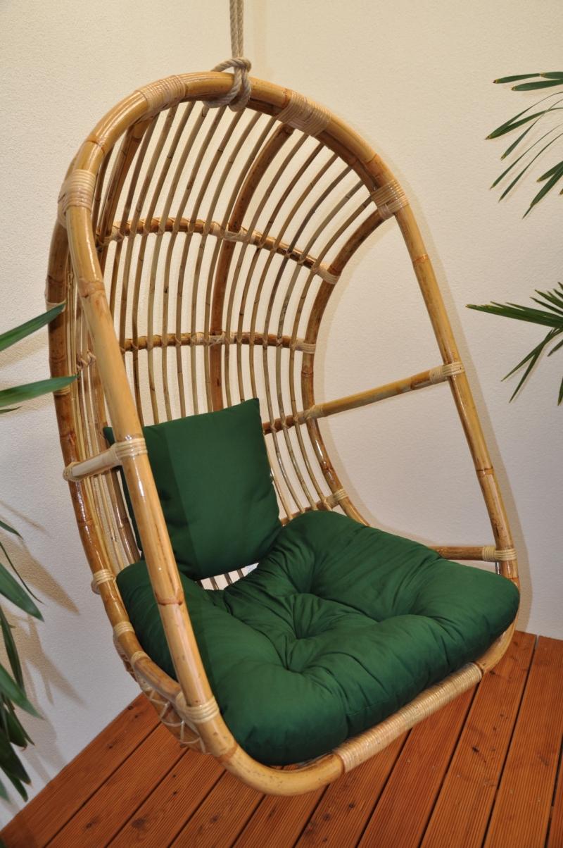 Ratanová houpačka závěsná Alfa polstr zelený dralon
