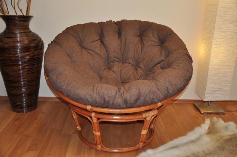 Ratanový papasan 115 cm koňak - polstr hnědý melír