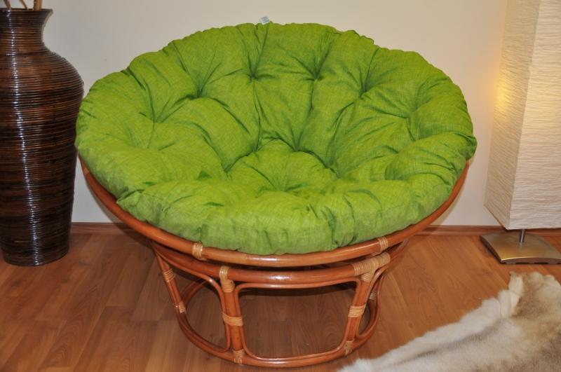 Ratanový papasan 110 cm koňak polstr světle zelený melír