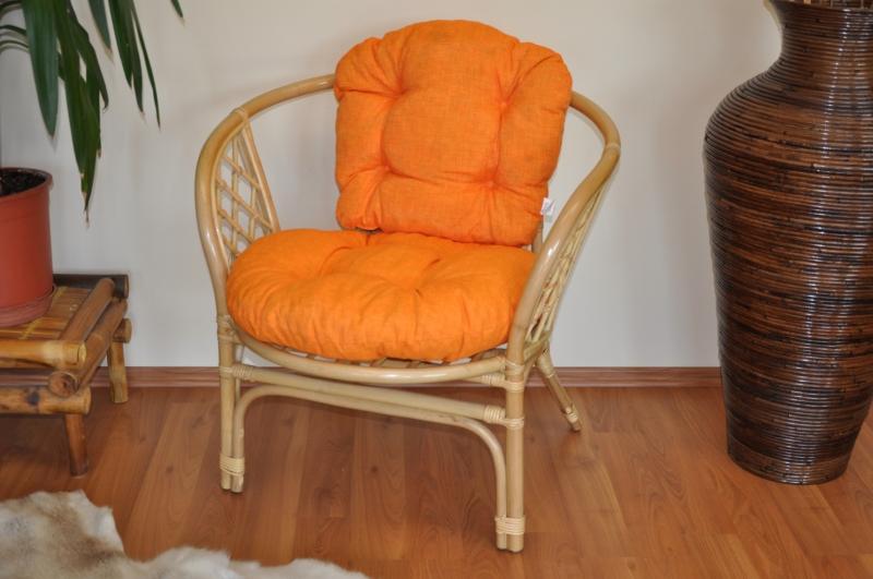 Ratanové křeslo Cayman medové polstr oranžový melír