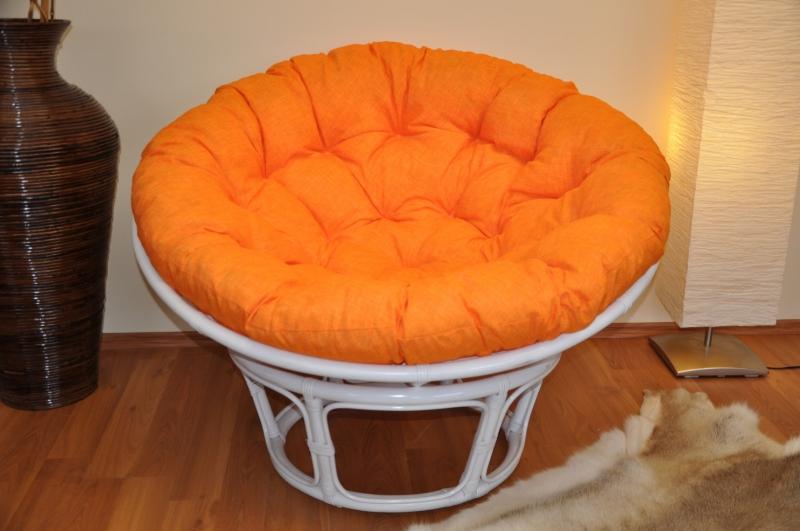Ratanový papasan 115 cm bílý - polstr oranžový melír