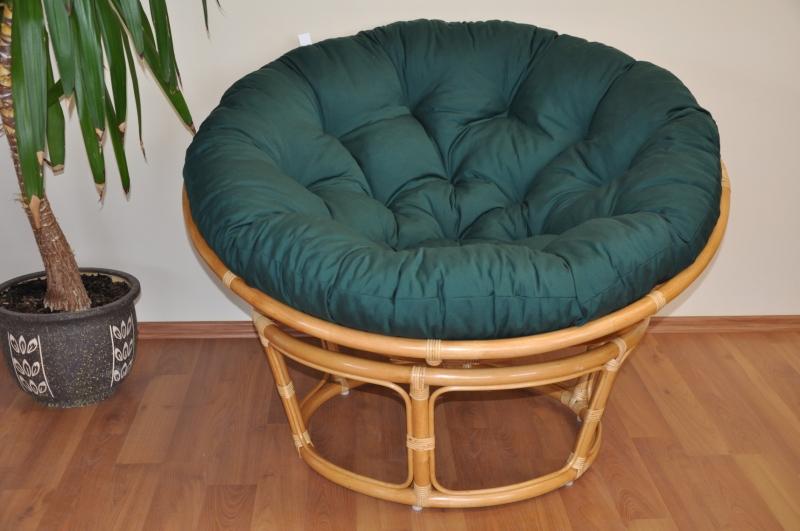 Ratanový papasan 115 cm medový - polstr zelený dralon