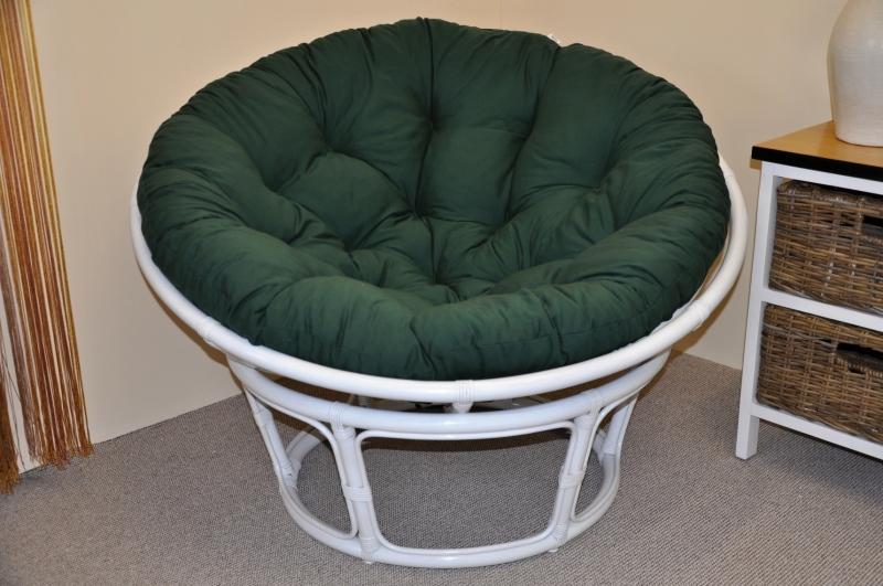 Ratanový papasan 115 cm bílý - polstr zelený dralon