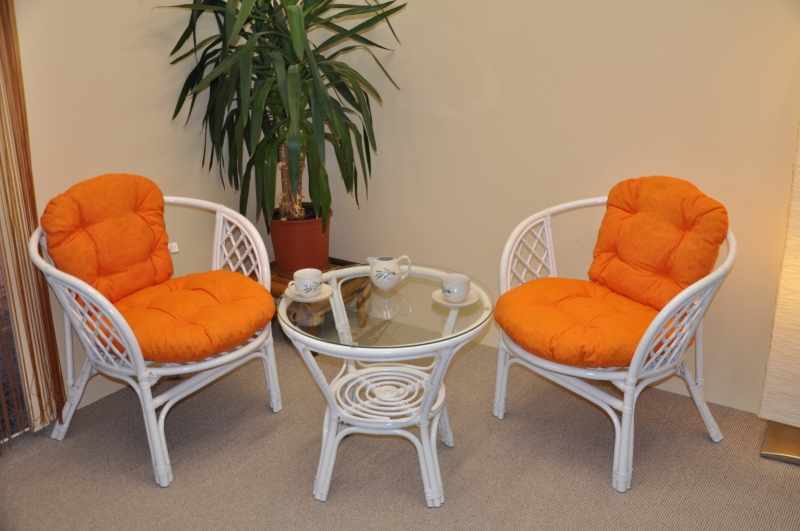 Ratanová sedací souprava Cayman bílá 2+1, polstry oranžový melír