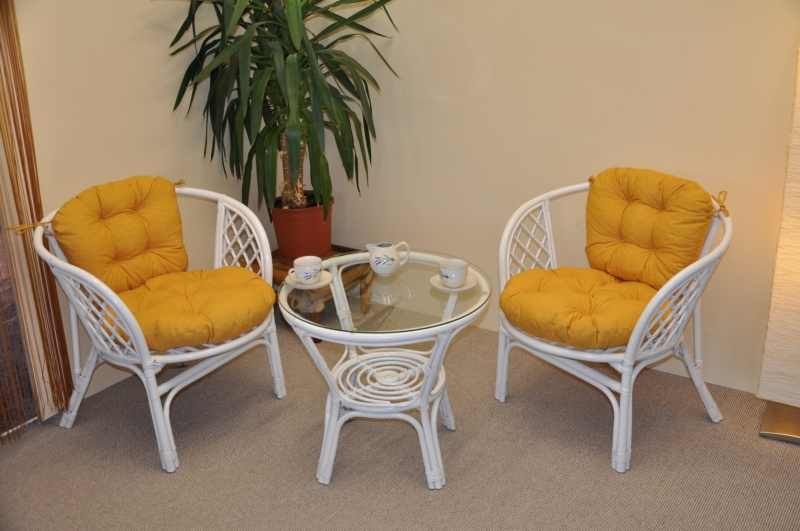 Ratanová sedací souprava Cayman bílá 2+1, polstry žlutý melír