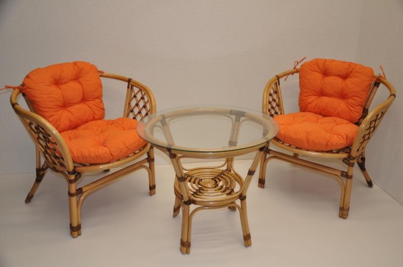 Ratanová sedací souprava Bahama malá LUX  polstry oranžový melír