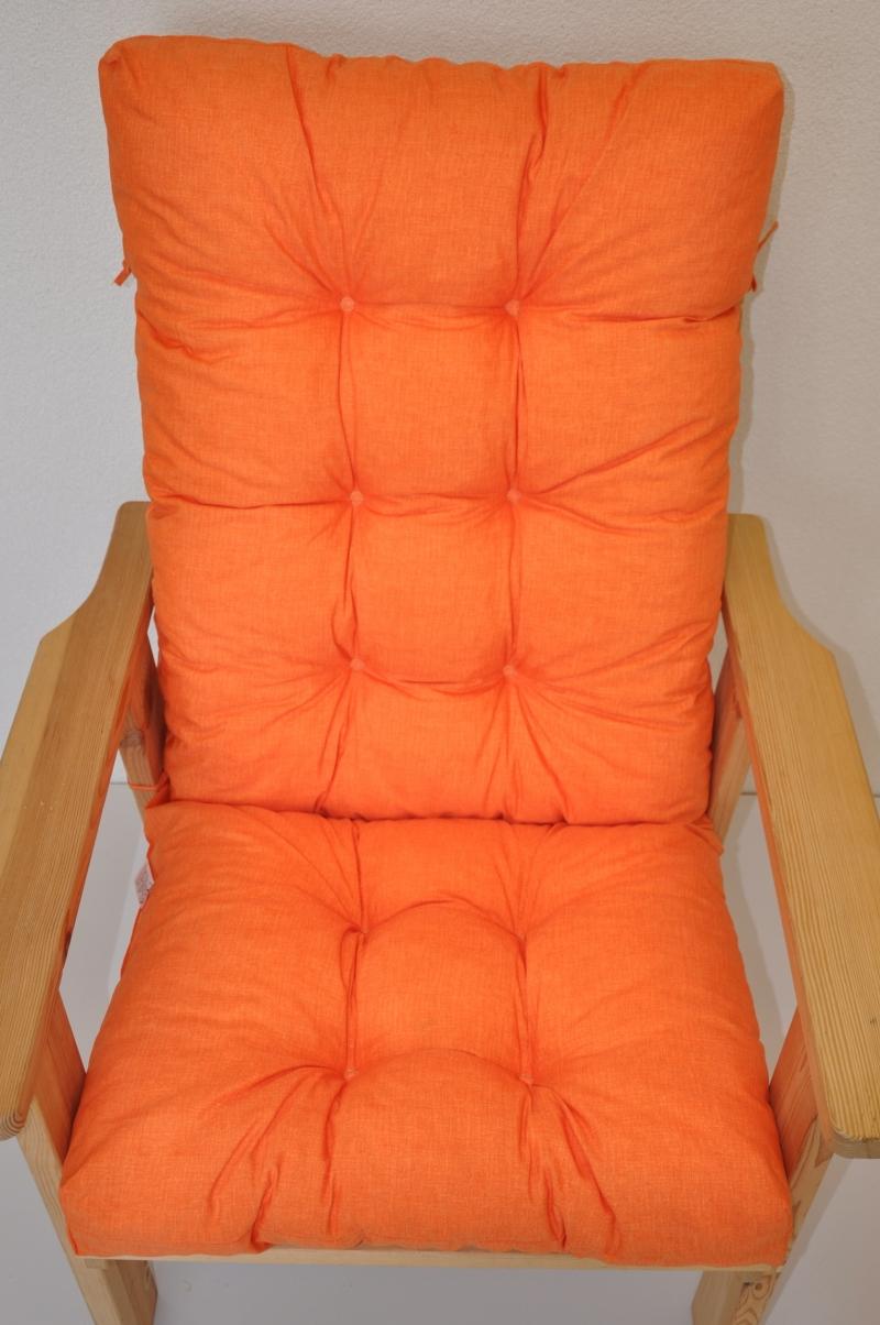 Polstr na zahradní křeslo vysoké - látka oranžový melír