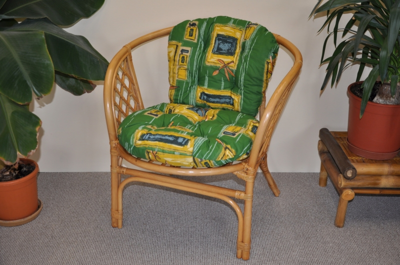 Ratanové křeslo Cayman medové polstr zelený