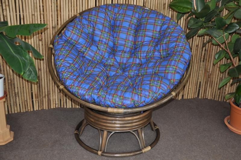 Ratanov� papasan houpac� Brown polstr modr�