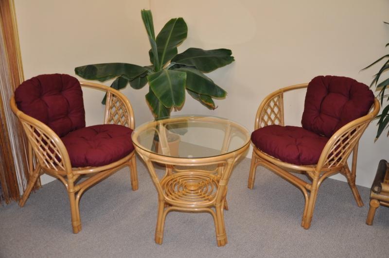Ratanová sedací souprava Bahama malá medová vínové polstry