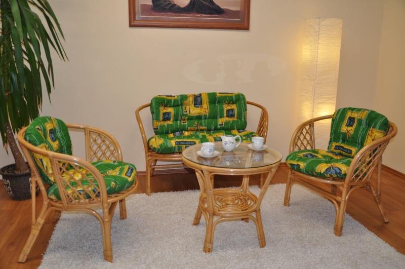 Ratanová sedací souprava Cayman medová velká polstry zelené