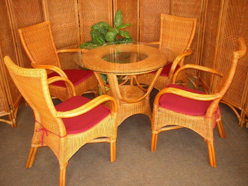 Ratanová sedací souprava Phuket Cognac polstry vínové